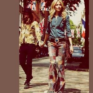 Free People Vintage Patchwork Flare Corduroy Pants